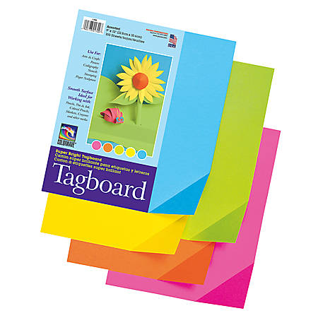 """Pacon® Colorwave Super Bright Tag Board, 9"""" x 12"""", Assorted Colors, Pack Of 100"""