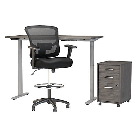 """Move 60 Series by Bush Business Furniture 60""""W Height Adjustable Standing Desk With Storage And Drafting Chair, Cocoa, Standard Delivery"""