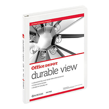 """Office Depot® Brand Durable View Round-Ring Binder, 1/2"""" Rings, 59% Recycled, White"""
