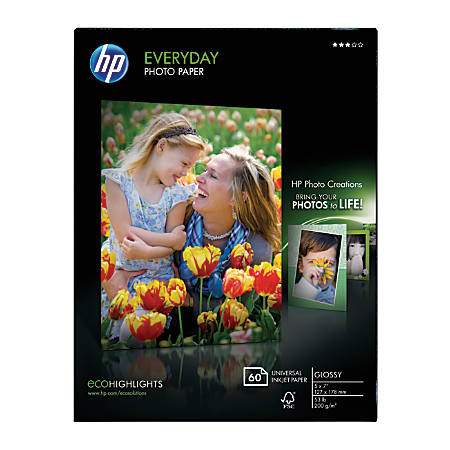 """HP Everyday Glossy Photo Paper, 5"""" x 7"""", 53 Lb, White, Pack of 60 Sheets"""