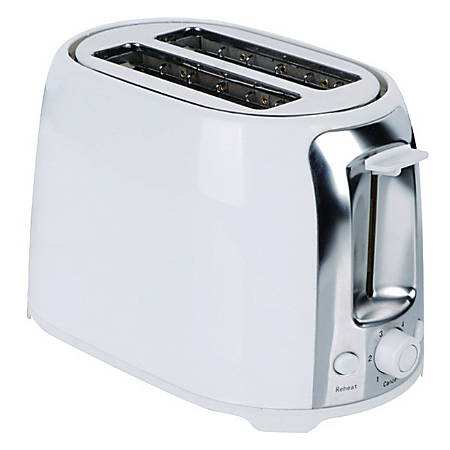 Brentwood Cool Touch 2-Slice Wide-Slot Toaster, White/Stainless Steel