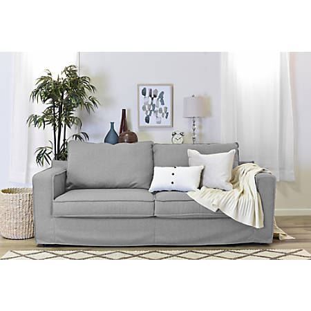 "Serta Colton 85"" Sofa With Slipcover, Light Gray"