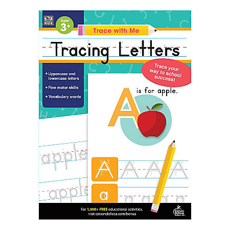 Carson-Dellosa Trace With Me Activity Book, Tracing Letters, Preschool - Kindergarten