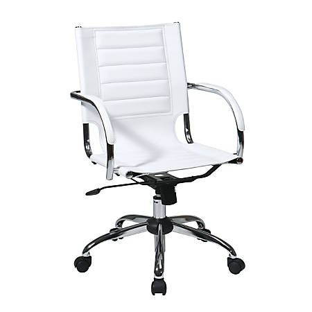 Ave Six Trinidad Vinyl Mid-Back Office Chair, White/Silver