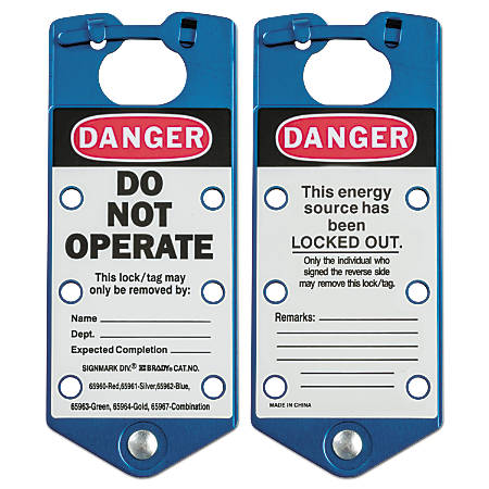 Labeled Lockout Hasps, 3 in W x 7 1/4 in L, Blue