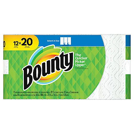 "Bounty Select-A-Size 2-Ply Paper Towels, 11"" x 5-15/16"", White, Pack Of 12 Mega Rolls"