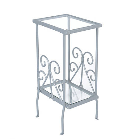 Monarch Specialties 2-Tier Metal Accent Table, Rectangle, Clear/Silver