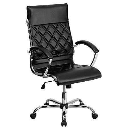 Flash Furniture Designer Upholstered Leather High-Back Swivel Chair, Black/Silver