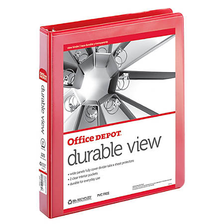 "Office Depot® Brand Durable View Round-Ring Binder, 1"" Rings, 61% Recycled, Red"