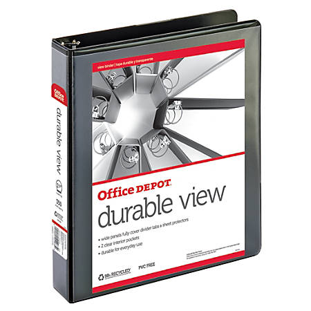 "Office Depot® Brand Durable View Round-Ring Binder, 1 1/2"" Rings, 61% Recycled, Black"