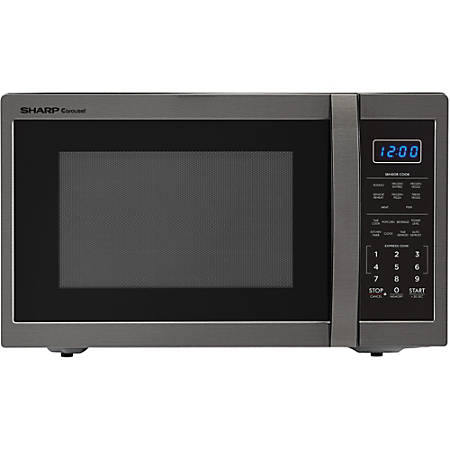 Sharp Carousel 1 4 Cu Ft Countertop Microwave Oven Black Stainless Steel Item 208913