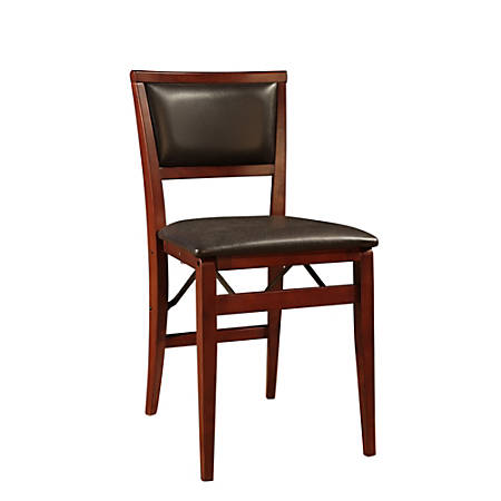 Linon Keira Pad Back Folding Chairs, Espresso, Set Of 2