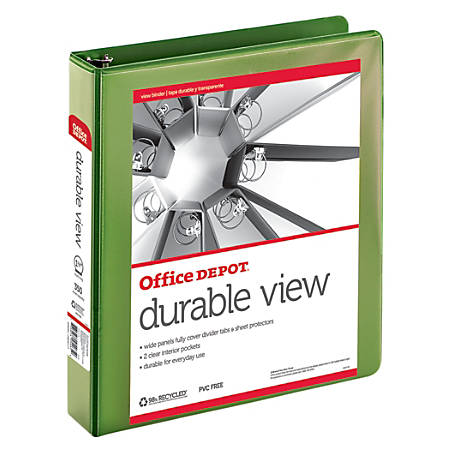 "Office Depot® Brand Durable View Round-Ring Binder, 1 1/2"" Rings, 100% Recycled, Green"