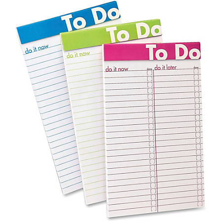 "Ampad To Do List Notepad - 50 Sheets - 5"" x 8"" - White Paper - Assorted Cover - Micro Perforated - 6 / Pack"