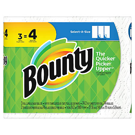"Bounty Select-A-Size 2-Ply Paper Towels, 11"" x 5 15/16"", White, 3 Big Rolls Per Pack, Carton Of 8 Packs"