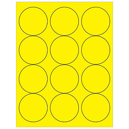 "Office Depot® Brand Labels, LL194YE, Circle, 2 1/2"", Fluorescent Yellow, Case Of 1,200"