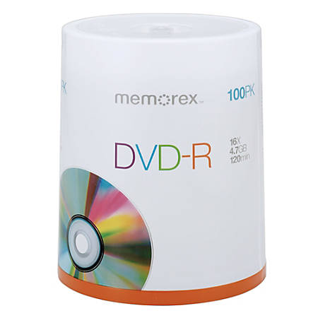 Memorex™ DVD-R Recordable Media Spindle, 4.7GB/120 Minutes, Pack Of 100