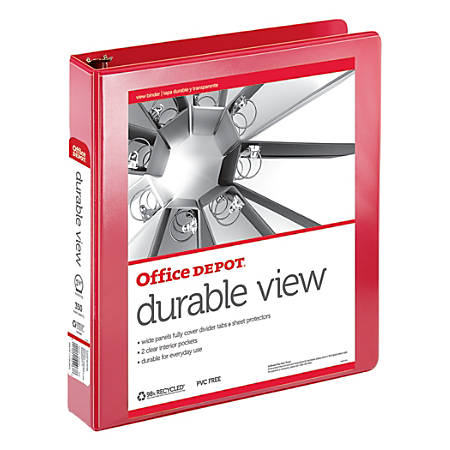 "Office Depot® Brand Durable View Round-Ring Binder, 1 1/2"" Rings, 61% Recycled, Red"