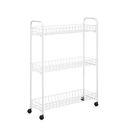 "Honey-can-do CRT-01149 3-tier Laundry Cart, White - 3 Shelf - 22.8"" Length x 7.9"" Width x 31.3"" Height - White"