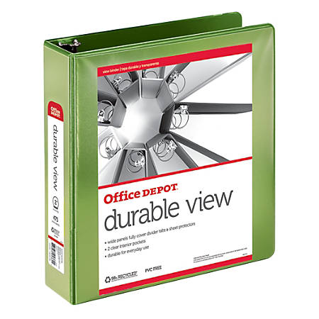 """Office Depot® Brand Durable View Round-Ring Binder, 2"""" Rings, 61% Recycled, Green"""