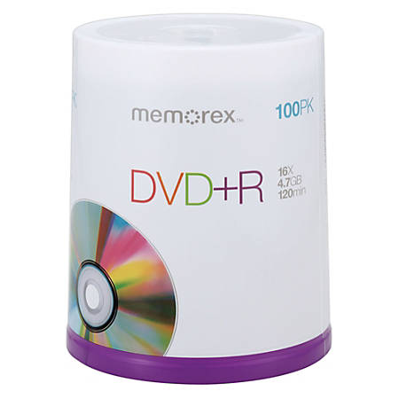 Memorex™ DVD+R Recordable Media Spindle, 4.7GB/120 Minutes, Pack Of 100