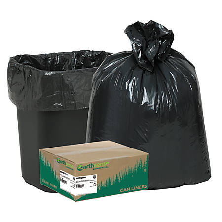 "Webster® EarthSense® 75% Recycled Star bottom Commercial Can Liners, 7-10 Gallons, 0.65 Mil Thick, 24"" x 23"", Black, Box Of 500"