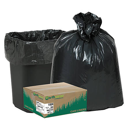 """Webster® EarthSense® 75% Recycled Star bottom Commercial Can Liners, 16 Gallons, 0.65 Mil Thick, 24"""" x 31"""", Black, Box Of 500"""