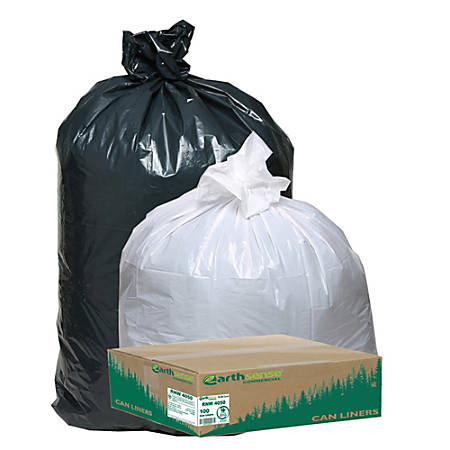"""Webster® EarthSense® 75% Recycled Star bottom Commercial Can Liners, 31-33 Gallons, 1.25 Mil Thick, 33"""" x 39"""", Black, Box Of 100"""