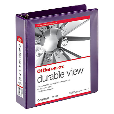 """Office Depot® Brand Durable View Round-Ring Binder, 2"""" Rings, 61% Recycled, Purple"""