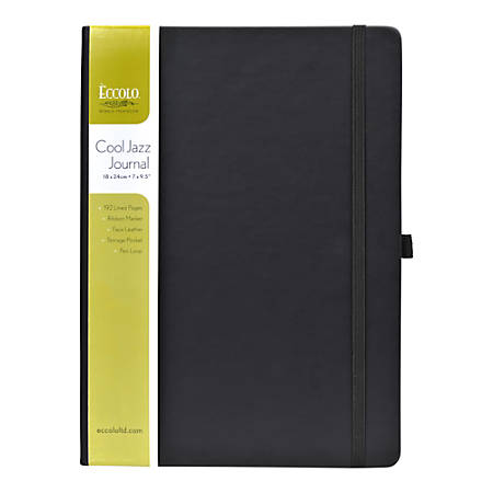 """Eccolo™ Cool Jazz Journal, 8"""" x 10"""", Lined, 192 Pages, Black"""