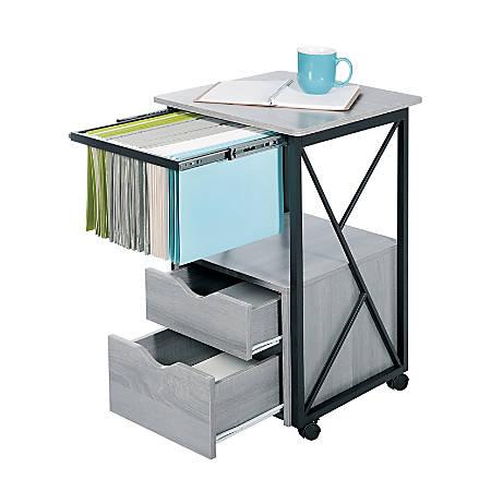 Safco® Mood Vertical Storage Pedestal, 2 Drawers, Gray