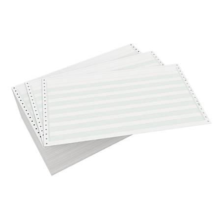 """Domtar Continuous Form Paper, Unperforated, 14 7/8"""" x 8 1/2"""", 20 Lb, 1/2"""" Green Bar, Box Of 2,700 Forms"""