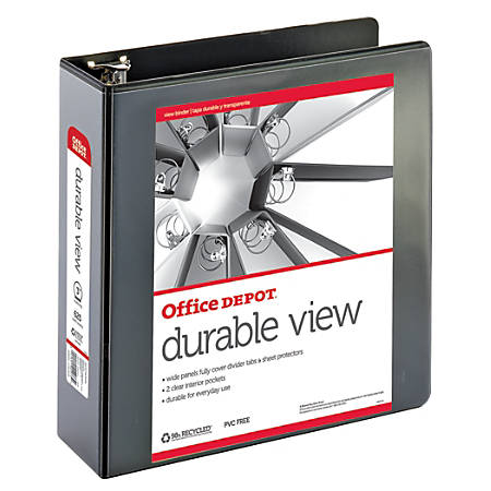 "Office Depot® Brand Durable View Round-Ring Binder, 3"" Rings, 61% Recycled, Black"