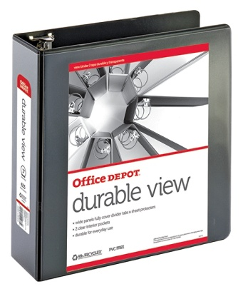 Office Depot Brand Durable View Round Ring Binder 3 Rings 61percent Recycled Black By Officemax