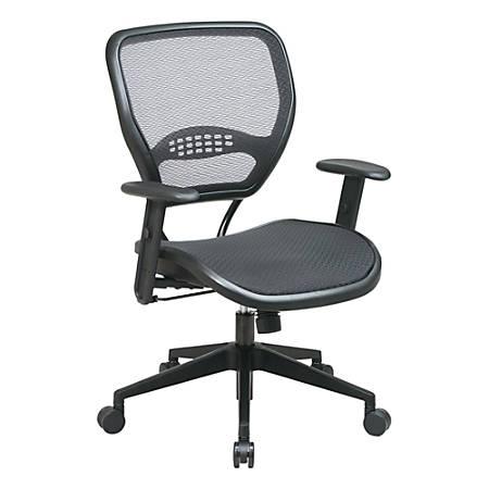 "Office Star™ Air Grid™ Deluxe Task Chair, 42""H x 27""W x 26 1/2""D, Black Frame, Black Fabric"