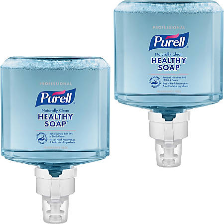 PURELL® ES8 Professional Naturally Clean Fragrance Free Foam - 40.6 fl oz (1200 mL) - Dirt Remover, Kill Germs - Skin - Blue - Fragrance-free, Preservative-free, Paraben-free, Phthalate-free, Dye-free, Hypoallergenic, Bio-based - 2 / Carton