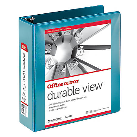 "Office Depot® Brand Durable View Round-Ring Binder, 3"" Rings, 61% Recycled, Jeweler Blue"