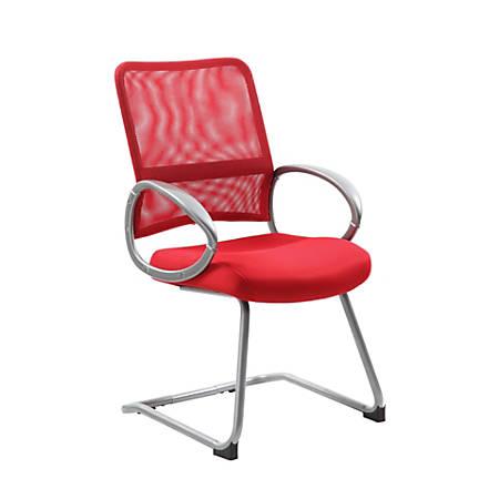 "Boss Mesh Guest Chair, 39""H x 24""W x 24""D, Red/Silver"