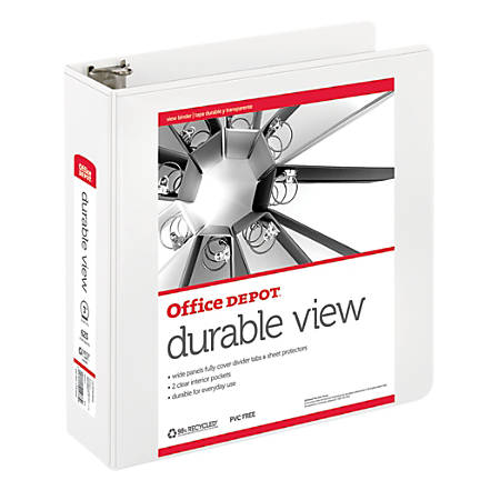 """Office Depot® Durable View Round-Ring Binder, 3"""" Rings, 61% Recycled, White"""