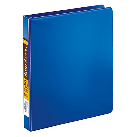 """Office Depot® Brand Heavy-Duty D-Ring Binder, 1"""" Rings, 59% Recycled, Blue"""