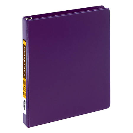 "Office Depot® Brand Heavy-Duty D-Ring Binder, 1"" Rings, 59% Recycled, Purple"