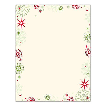 "Great Papers!® Holiday Stationary, 8 1/2"" x 11"", Red And Green Flakes, Pack Of 80 Sheets"