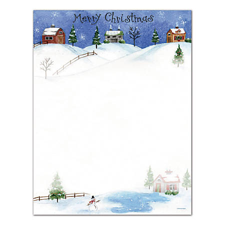 "Great Papers!® Holiday Stationery, 8 1/2"" x 11"", Folk Art Village, Pack Of 80 Sheets"