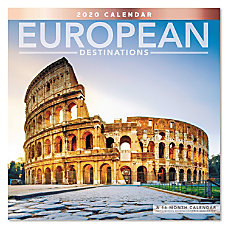Mead European Destinations Monthly Wall Calendar