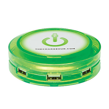 ChargeHub X7 7-Port USB SuperCharger Super Value Pack, Round, Edge Glow Green, CRGRD-SVP-X7-200