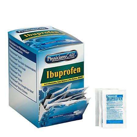 PhysiciansCare Ibuprofen Single Dose Packets, 2 Tablets Per Box, Box of 125 Packets