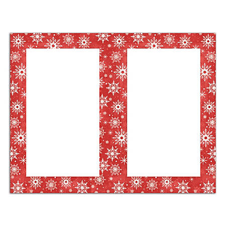 """Great Papers! Masterpiece Studios 2-Up Holiday Invitations, Snowy Flakes, 8 1/2"""" x 5 1/2"""", Pack Of 50"""