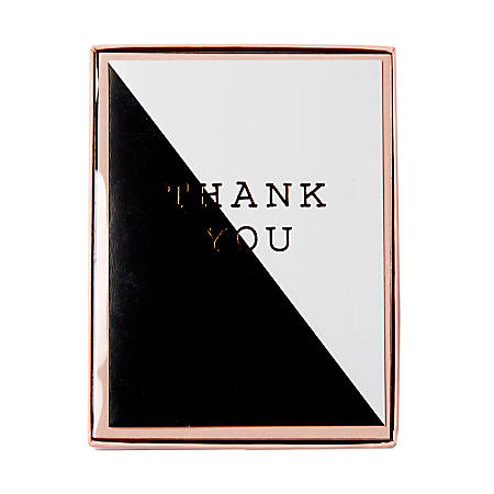 """Sincerely A Collection by C.R. Gibson® Side-Fold Boxed Notes, 3 3/4"""" x 5"""", Black Block Thank You, Pack Of 10"""