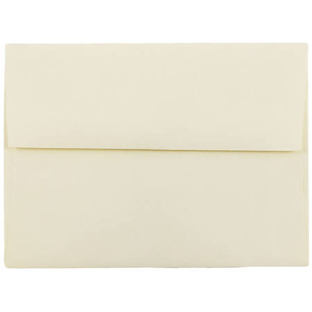 "JAM Paper® Booklet Invitation Envelopes, A6, 4 3/4"" x 6 1/2"", Strathmore, Ivory Wove, Pack Of 25"