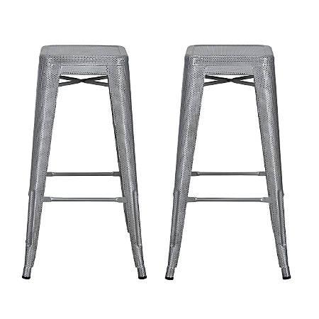 DHP Nova Metal Mesh Backless Bar Stool, Silver